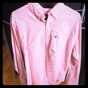 American Eagle large pink and white button-down